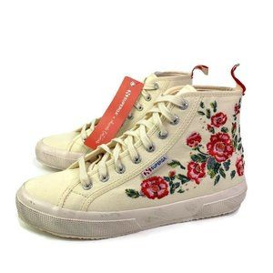 Superga Ivory High Top Floral Lace Up Sneakers New
